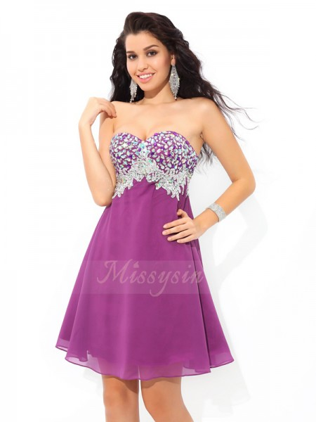 A-Line/Princess Sleeveless Sweetheart Rhinestone Short/Mini Chiffon Cocktail Dresses