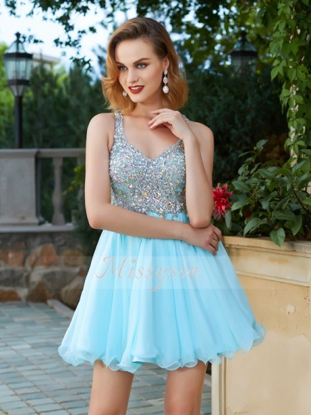 A-Line/Princess Straps Short/Mini Rhinestone Sleeveless Chiffon Dresses