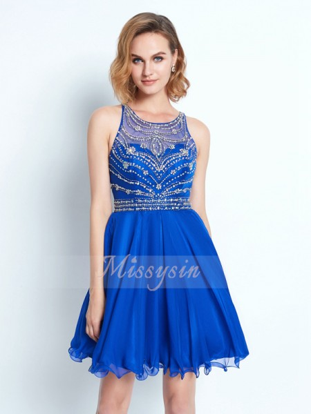 A-Line/Princess Scoop Short/Mini Beading Sleeveless Chiffon Dresses