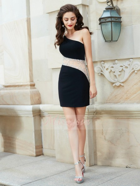 Sheath/Column One-Shoulder Short/Mini Beading Sleeveless Net Dresses