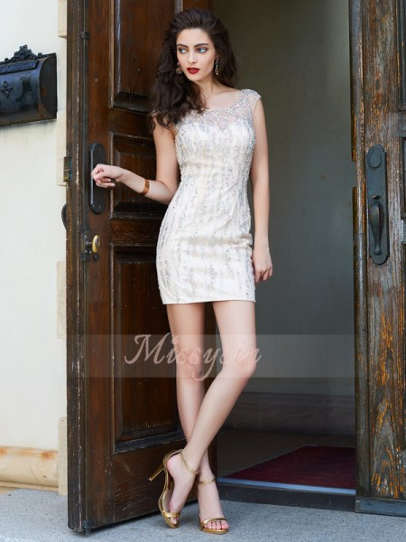 Sheath/Column Scoop Short/Mini Beading Sleeveless Net Dresses
