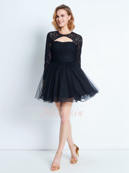 A-Line/Princess High Neck Short/Mini Long Sleeves Net Dresses