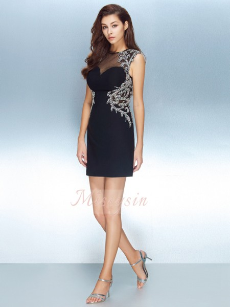 Sheath/Column Jewel Short/Mini Crystal Short Sleeves Net Dresses