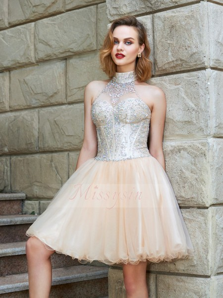 A-Line/Princess Halter Short/Mini Beading Sleeveless Net Dresses