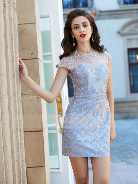Sheath/Column Jewel Short/Mini Beading Short Sleeves Satin Dresses