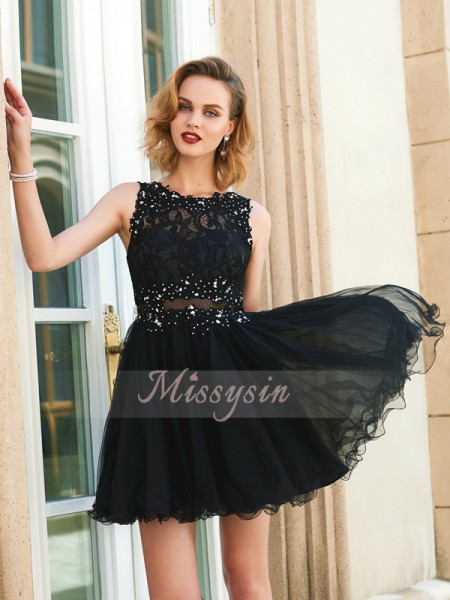 A-Line/Princess Jewel Short/Mini Sleeveless Net Dresses