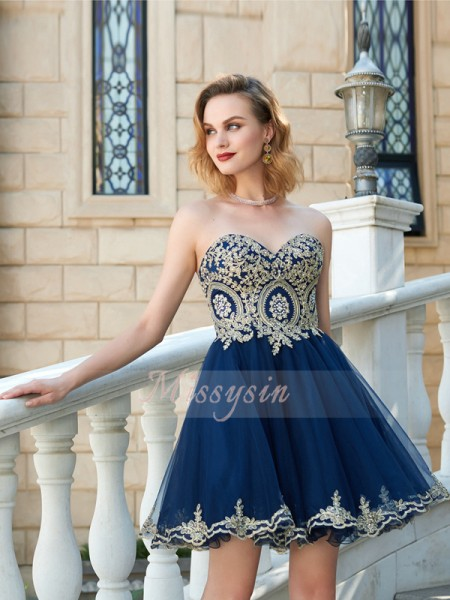 A-Line/Princess Sweetheart Short/Mini Applique Sleeveless Net Dresses