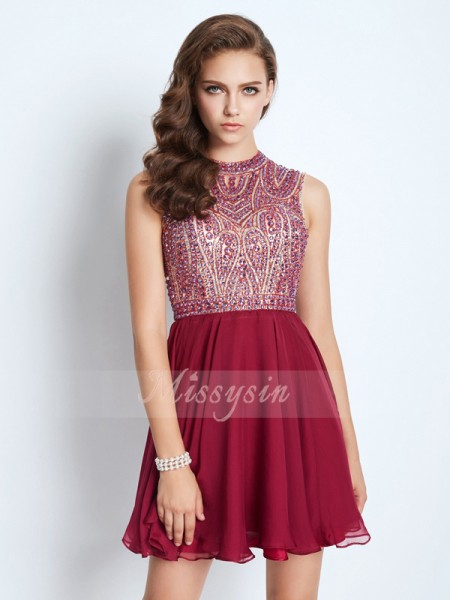 A-Line/Princess Jewel Short/Mini Beading Sleeveless Chiffon Dresses