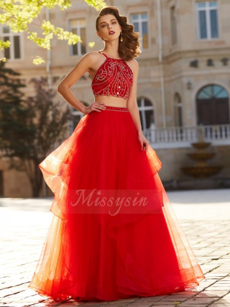 A-Line/Princess Floor-Length Spaghetti Straps Beading Sleeveless Tulle Dresses