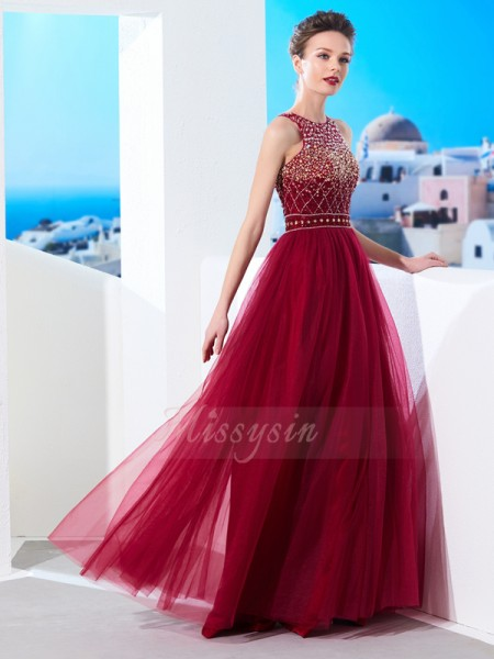 A-Line/Princess Floor-Length Scoop Beading Sleeveless Tulle Dresses