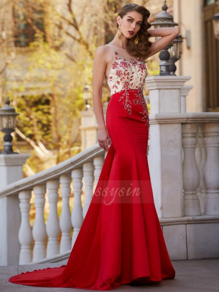 Trumpet/Mermaid Court Train Sheer Neck Applique Sleeveless Stain Dresses