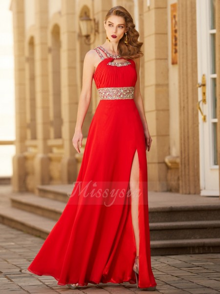 A-Line/Princess Floor-Length Scoop Beading Sleeveless Chiffon Dresses