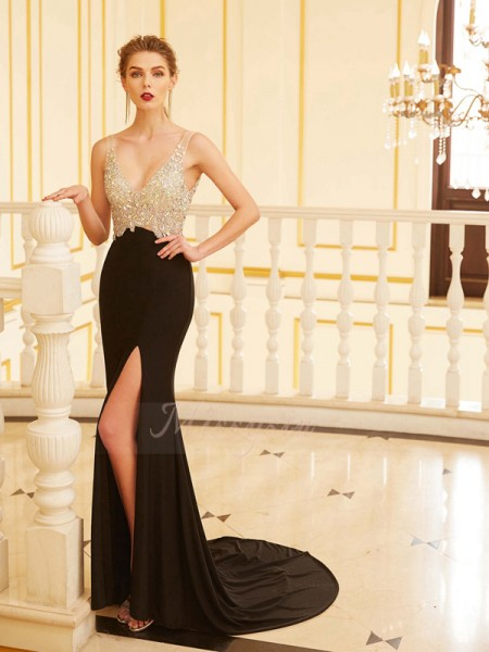 Sheath/Column Sweep/Brush Train V-neck Beading Sleeveless Spandex Dresses