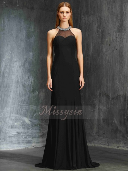 Sheath/Column Sweep/Brush Train Jewel Beading Sleeveless Spandex Dresses
