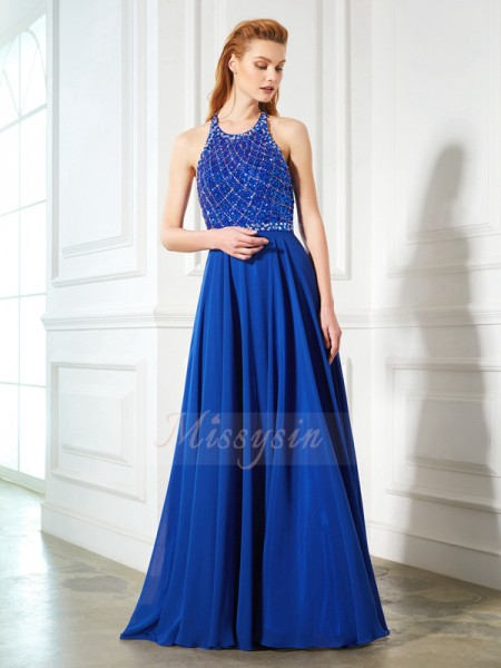 A-Line/Princess Sweep/Brush Train Jewel Beading Sleeveless Chiffon Dresses