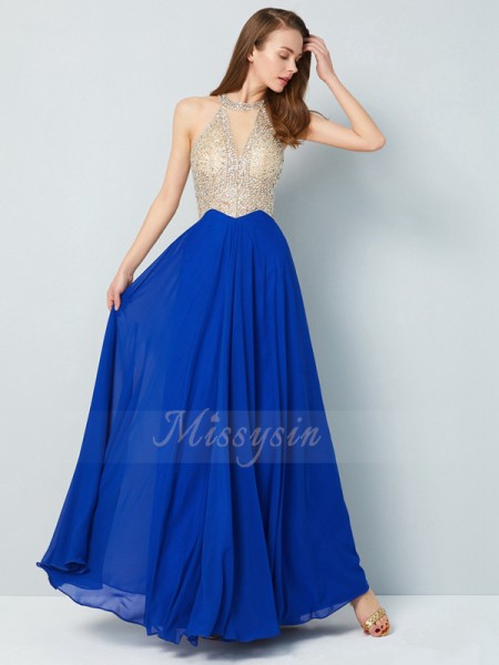 A-Line/Princess Floor-Length Scoop Crystal Sleeveless Chiffon Dresses