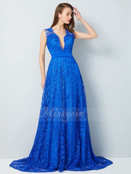 A-Line/Princess Sweep/Brush Train V-neck Bowknot Sleeveless Lace Dresses
