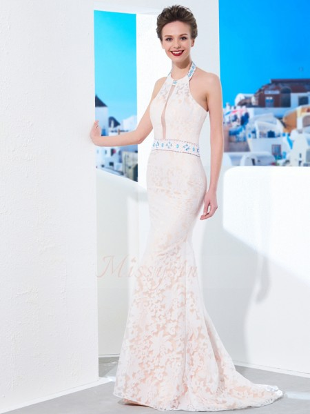 Sheath/Column Floor-Length Halter Sleeveless Lace Dresses
