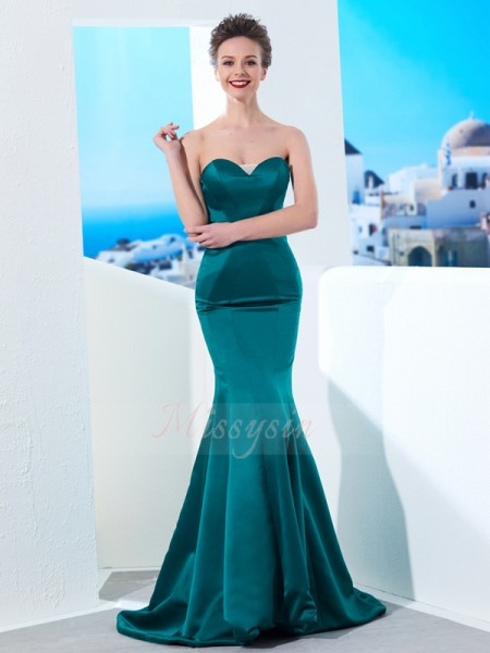 Trumpet/Mermaid Sweep/Brush Train Sweetheart Ruched Sleeveless Satin Dresses