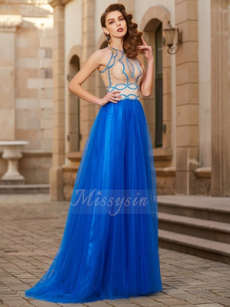 A-Line/Princess Floor-Length Jewel Beading Sleeveless Tulle Dresses