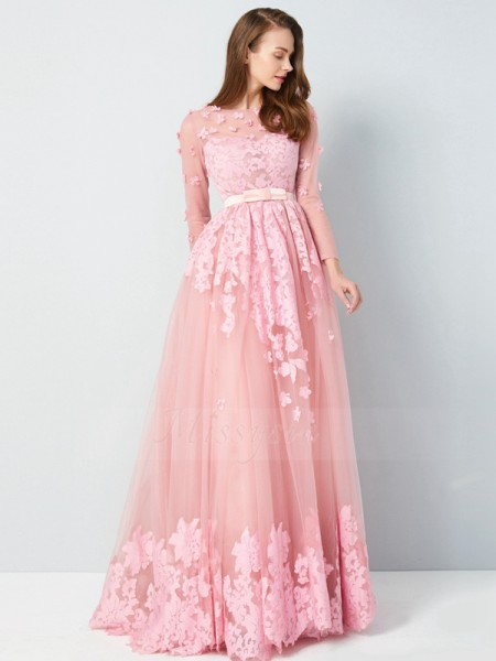 A-Line/Princess Floor-Length Scoop Applique 3/4 Sleeves Tulle Dresses