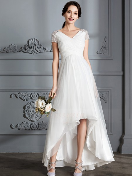 A-Line/Princess Short Sleeves Tulle Asymmetrical V-neck Wedding Dresses 71006