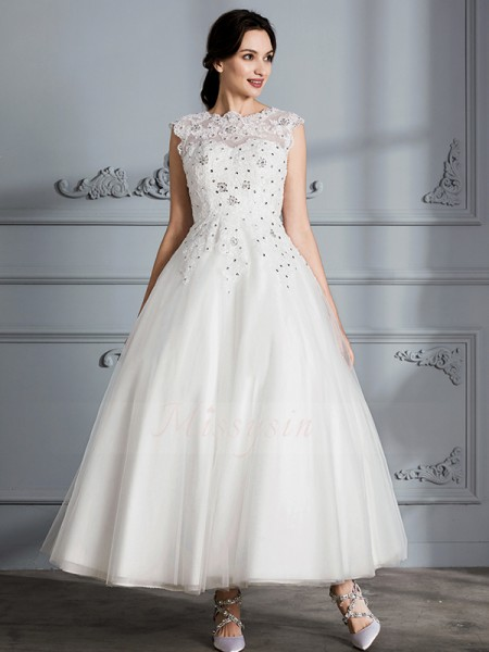 Ball Gown Sleeveless Tulle Tea-Length Scoop Wedding Dresses 71015