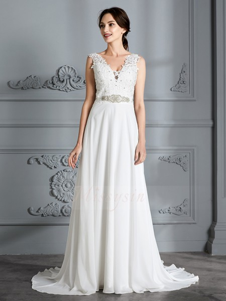 A-Line/Princess Sleeveless Chiffon Sweep/Brush Train V-neck Wedding Dresses 71016