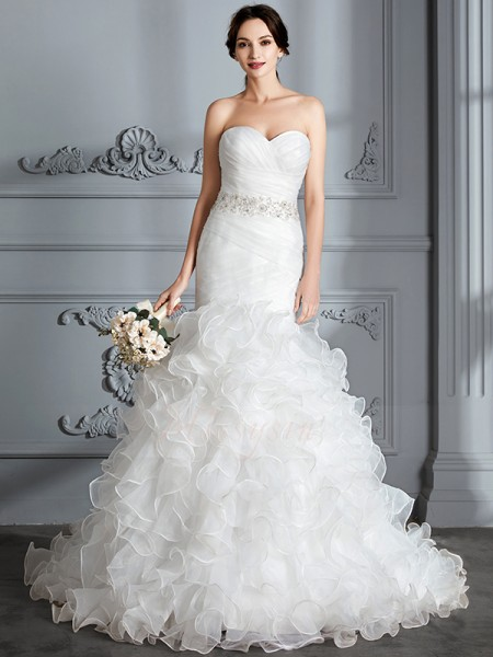 Trumpet/Mermaid Sleeveless Satin Sweep/Brush Train Sweetheart Wedding Dresses 71018