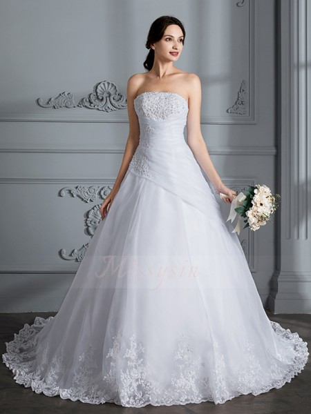 Ball Gown Sleeveless Organza Court Train Strapless Wedding Dresses 71020