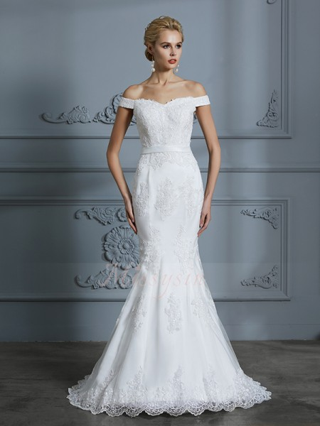 Trumpet/Mermaid Sleeveless Tulle Sweep/Brush Train Off-the-Shoulder Wedding Dresses 71024