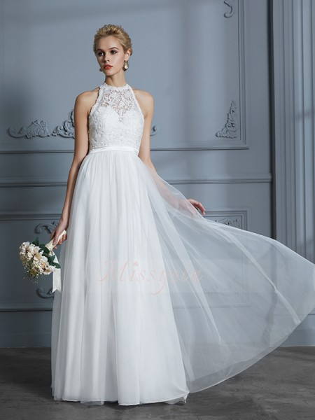 A-Line/Princess Sleeveless Tulle Floor-Length Scoop Wedding Dresses 71025