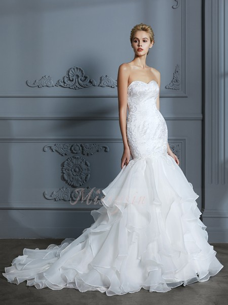 Trumpet/Mermaid Sleeveless Organza Sweep/Brush Train Sweetheart Wedding Dresses 71027