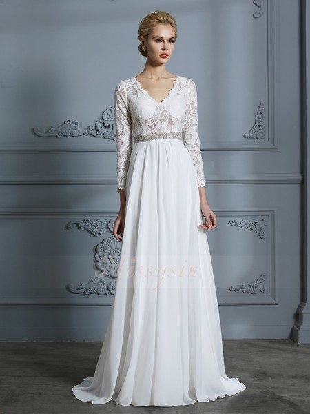 A-Line/Princess 3/4 Sleeves Chiffon Sweep/Brush Train V-neck Wedding Dresses 71038