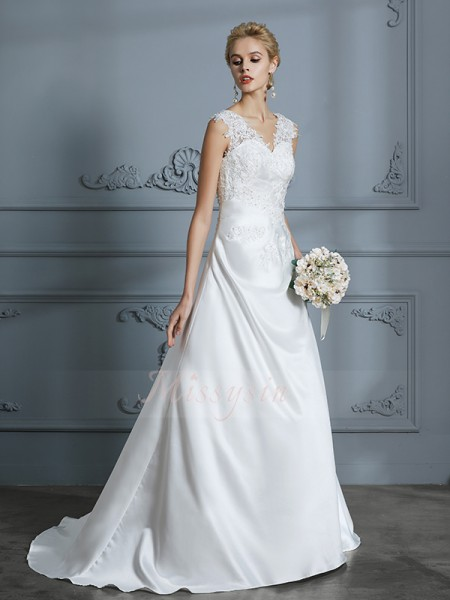 A-Line/Princess Sleeveless Satin Sweep/Brush Train V-neck Wedding Dresses 71040
