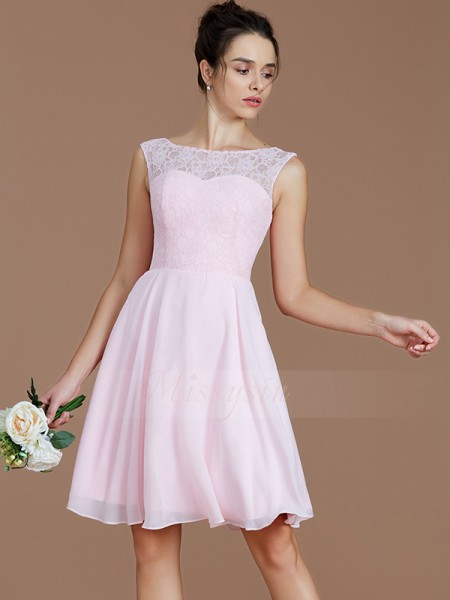 A-Line/Princess Short/Mini Bateau Sleeveless Chiffon Bridesmaid Dresses
