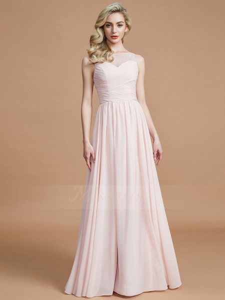 A-Line/Princess Floor-Length Bateau Sleeveless Ruched Chiffon Bridesmaid Dresses