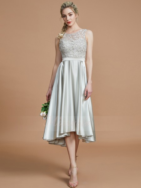 A-Line/Princess Asymmetrical Bateau Sleeveless Ruffles Silk like Satin Bridesmaid Dresses
