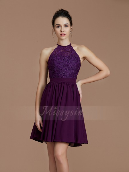 A-Line/Princess Short/Mini Halter Sleeveless Chiffon Bridesmaid Dresses