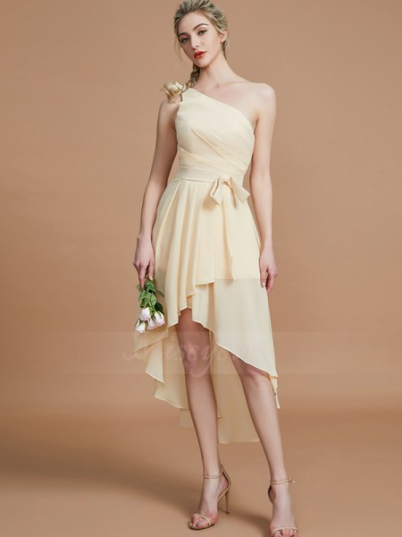 A-Line/Princess Asymmetrical One-Shoulder Sleeveless Layers Chiffon Bridesmaid Dresses