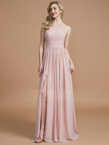 A-Line/Princess Floor-Length Spaghetti Straps Sleeveless Ruched Chiffon Bridesmaid Dresses
