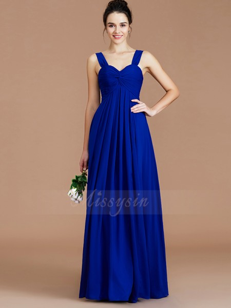Empire Floor-Length Sweetheart Sleeveless Ruched Chiffon Bridesmaid Dresses