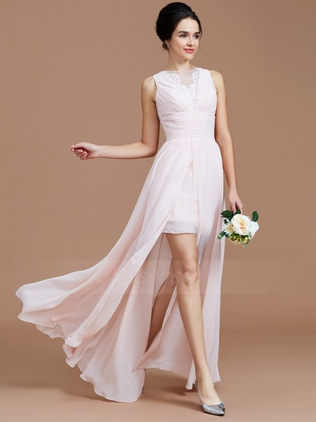 A-Line/Princess Floor-Length Jewel Sleeveless Ruched Chiffon Bridesmaid Dresses