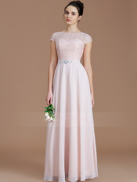 A-Line/Princess Floor-Length Bateau Sleeveless Chiffon Bridesmaid Dresses