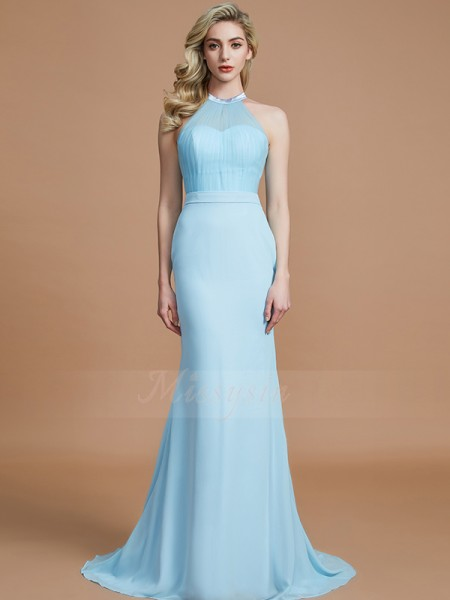 Trumpet/Mermaid Sweep/Brush Train Scoop Sleeveless Chiffon Bridesmaid Dresses