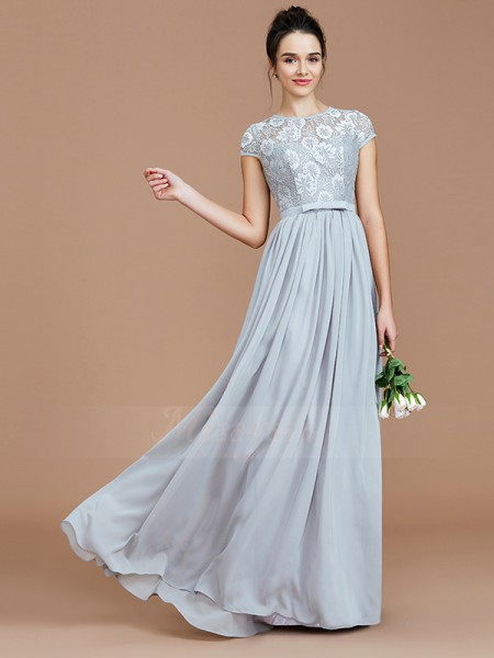 A-Line/Princess Floor-Length Jewel Short Sleeves Chiffon Bridesmaid Dresses
