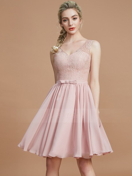 A-Line/Princess Short/Mini V-neck Sleeveless Chiffon Bridesmaid Dresses