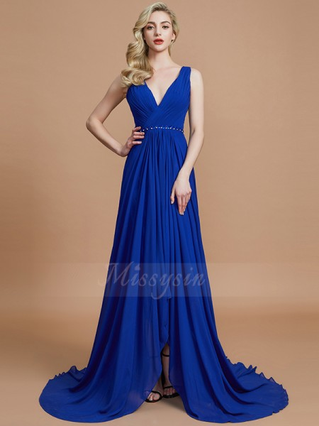 A-Line/Princess Sweep/Brush Train V-neck Sleeveless Chiffon Bridesmaid Dresses