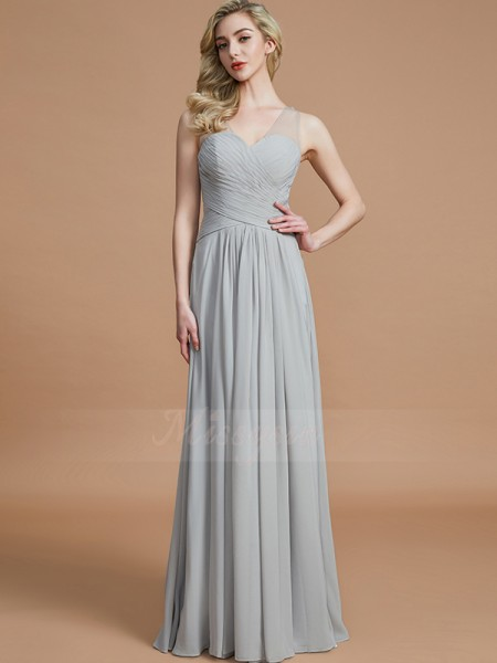 A-Line/Princess Floor-Length V-neck Sleeveless Chiffon Bridesmaid Dresses