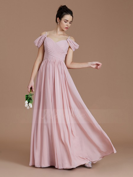 A-Line/Princess Floor-Length Off-the-Shoulder Sleeveless Ruched Chiffon Bridesmaid Dresses